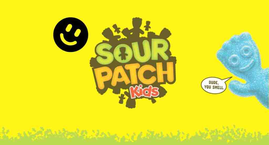 cool sour patch kids logo with smile face