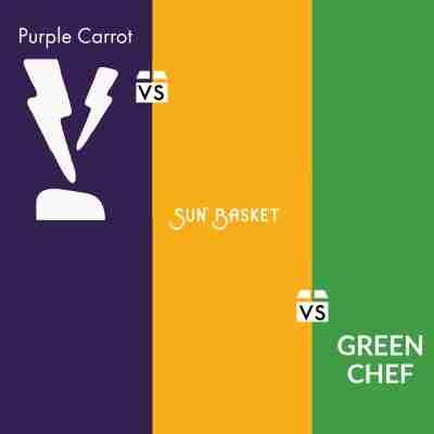 table comparison image for purple carrot vs sun basket vs green chef