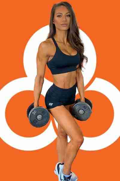 fit woman with dumbbells and trifecta background