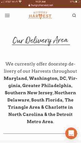 Hungry Harvest delivery areas in United States