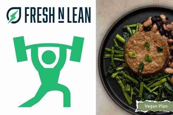 FreshNLean logo and vegan meal for athletes