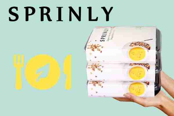 Sprinly's logo, dish and delivered vegan meals