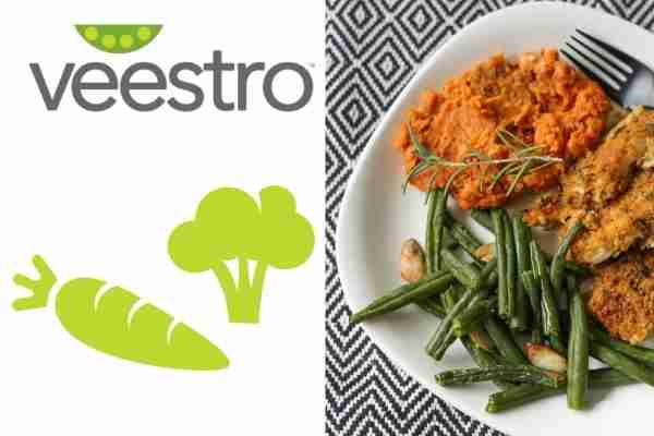 Veestro logo and vegan dish delivered