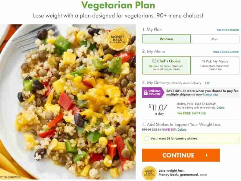 vegetarian plan by nutrisystem review